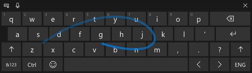 With the Fall Creators Update we introduced shape-writing input for one-handed keyboard. We've heard your feedback, and with today's build we're happy to announce that it's now also available when using the wide keyboard!